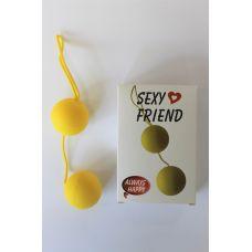Шарики вагинальные Чувствительность пластиковые с хвостиком Balls желтые D 3,5 см L 14 см