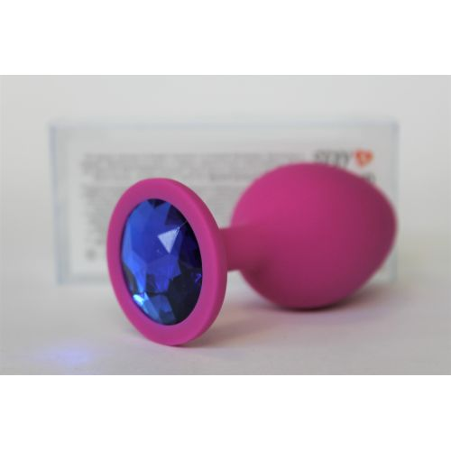 Силиконовая анальная пробка цвета фуксия с синим стразом Sexy Friend L 85 мм, D 40 мм