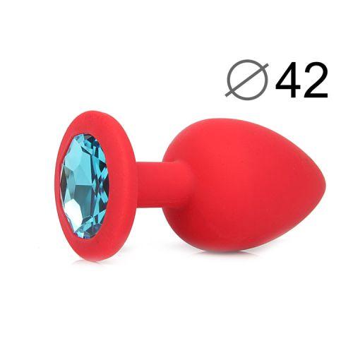 Анальная пробка красная силиконовая L с голубым кристаллом