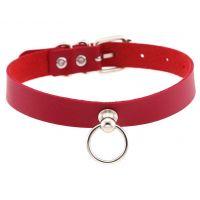 Чокер-ошейник с кольцом красный SKN-AS05
