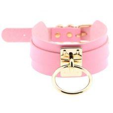 Чокер-ошейник розовый с золотистым колечком