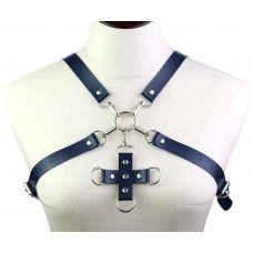 Портупея из искусственной кожи с фиксатором Women's PU Leather Chest Harness Caged Bra BLUE