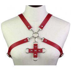 Портупея из искусственной кожи с фиксатором Women's PU Leather Chest Harness Caged Bra RED