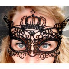 Ажурная черная маска на глаза SKN для БДСМ-игр