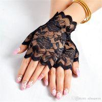 Кружевные перчатки черные SKN-C015