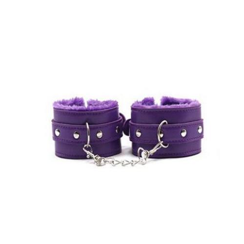 Наручники с мехом для секса фиолетового цвета цвета SKN-C051, PURPL