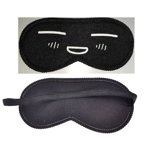 Закрытая маска на глаза черная с рисунком Smile SKN-C074
