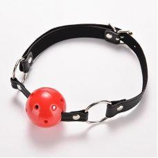 Кляп-шар в рот красный на ремешке SKN для БДСМ-игр красный