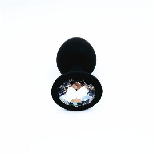 Силиконовая анальная пробка с кристаллом SKN-KSIL-01L размер L