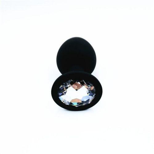 Силиконовая анальная пробка с кристаллом SKN-KSIL-01M размер M