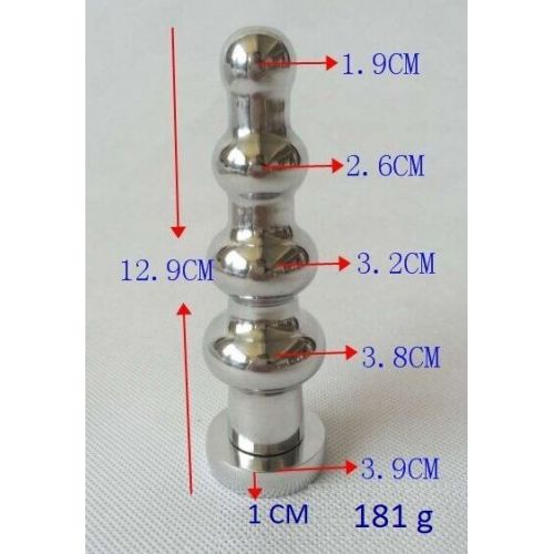 Рифленая анальная пробка с кристаллом SKN-MS106 ( длина 12,9 см, диаметр 3,8 см, вес 181 гр.