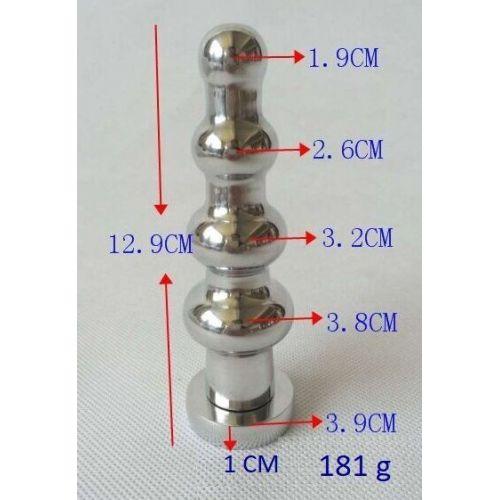 Рифленая анальная пробка с кристаллом SKN-MS110
