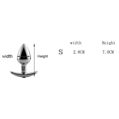 Анальная пробка якорь с прозрачным кристаллом White размер S