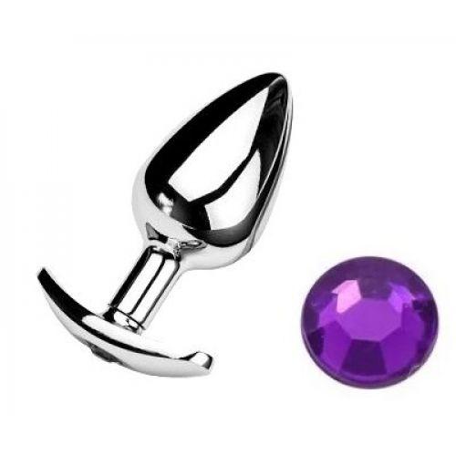 Анальная пробка якорь с фиолетовым кристаллом Purple размер S
