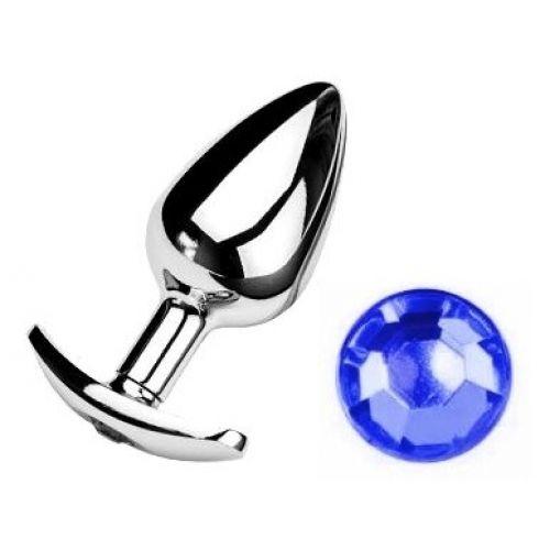 Анальная пробка якорь с синим кристаллом Dark blue размер S