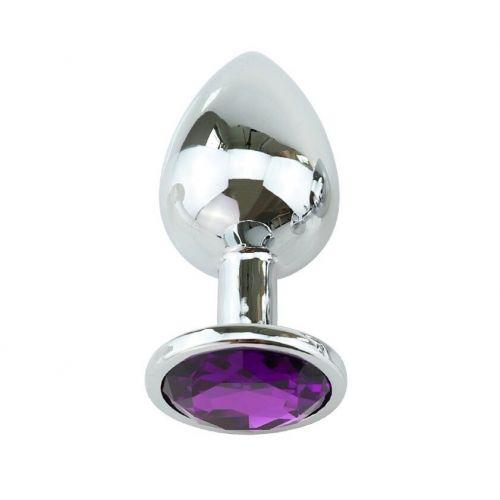 Металлическая анальная пробка с фиолетовым кристаллом SKN-MS64 ( размер S )