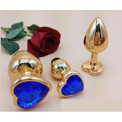 Комплект золотистых анальных пробок в форме сердца с синим кристаллом SKN-NMG01 размер S, M, L