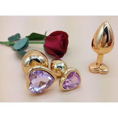 Комплект золотистых анальных пробок в форме сердца с розовым кристаллом SKN-NMG03 размер S, M, L