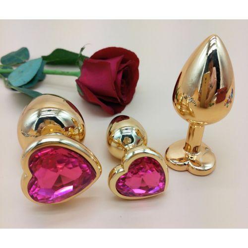 Комплект золотистых анальных пробок в форме сердца с розовым кристаллом SKN-NMG04 размер S, M, L