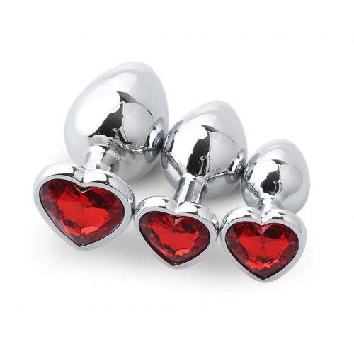 Комплект анальных пробок с красным кристаллом сердечко SKN-NMS04 ( размер S, M, L )
