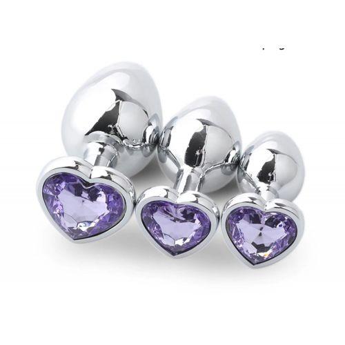 Комплект серебристых анальных пробок в форме сердца с фиолетовым кристаллом SKN-NMS07 размер S, M, L