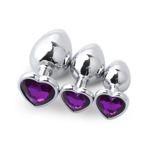 Комплект анальных пробок с фиолетовым кристаллом сердечко SKN-NMS08 ( размер S, M, L )