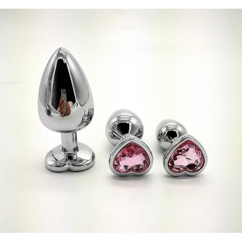 Комплект серебристых анальных пробок в форме сердца с розовым кристаллом SKN-NMS10 размер S, M, L