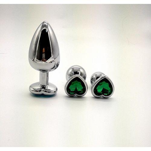Комплект серебристых анальных пробок в форме сердца с зеленым кристаллом SKN-NMS11 размер S, M, L