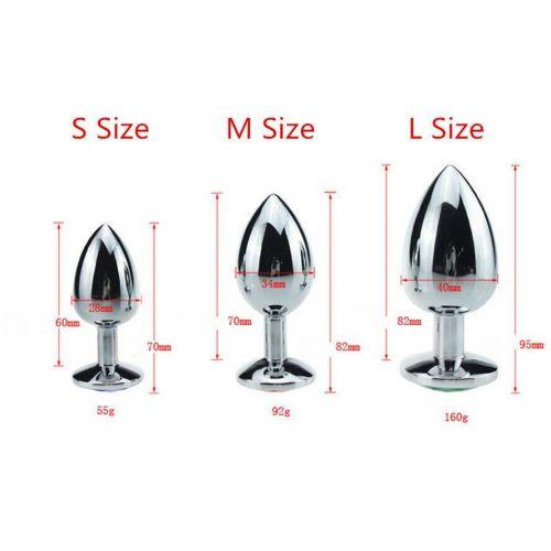 Комплект метталических анальных пробок с кристаллом SKN размер S, M, L