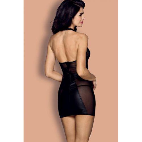 Сексуальное виниловое платье чёрное O/S
