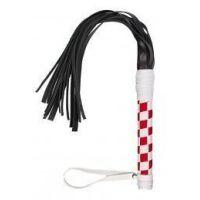 Флогер, многохвостая гладкая плеть кожаная VIP Leather Floger White&Red