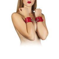 Наручники для секса из кожи красные Leather Dominant Hand Cuffs
