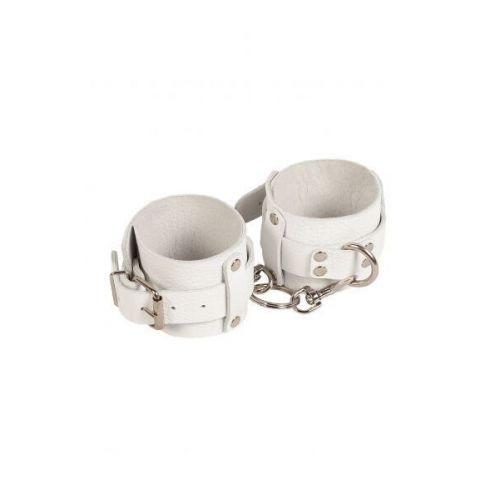 Наручники для секса из кожи белые Leather Dominant Hand Cuffs