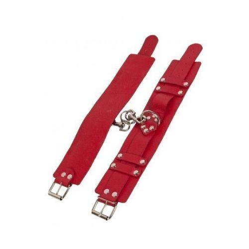 Оковы для ног кожаные красные БДСМ Leather Dominant Leg Cuffs