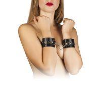 Наручники для секса из кожи черные с металлическими заклёпками Leather Restraints Hand Cuffs