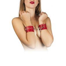 Наручники кожаные с металлическими заклёпками красные БДСМ Leather Restraints Hand Cuffs