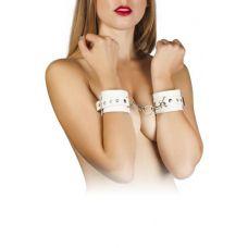 Наручники кожаные с металлическими заклёпками белые БДСМ Leather Restraints Hand Cuffs