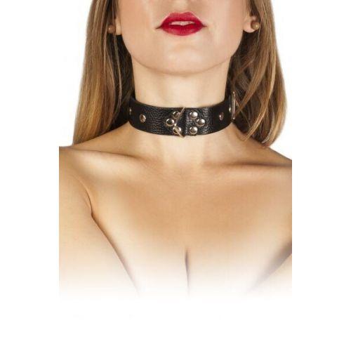 Ошейник БДСМ кожаный черный Leather Restraints Collar