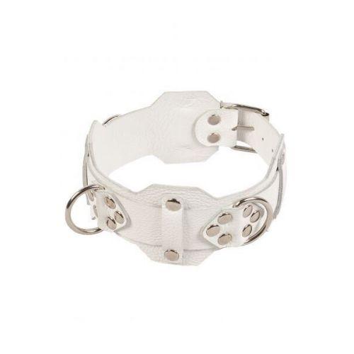 Красивый кожаный ошейник БДСМ белый VIP Leather Collar