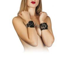 Наручники для секса из кожи черные с заклепками Leather Hand Cuffs