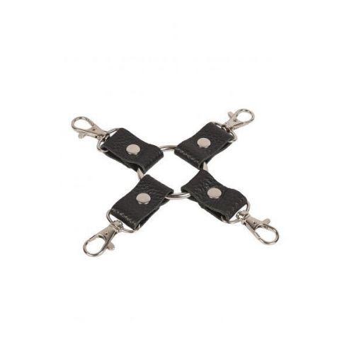 Перекрёстный фиксатор БДСМ кожаный черный Leather Fixer