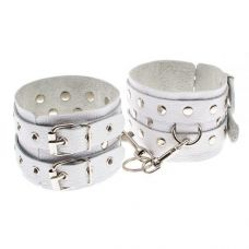 Оковы для ног кожаные белые Leather Double Fix Leg Cuffs, white