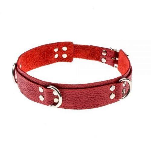 Ошейник БДСМ кожаный красный Slave leather collar