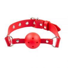 Кляп в рот шарик на кожаном ремешке sLash для БДСМ красный