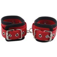 Оковы для рук красные кожаные BDSM-NEW PVC Handcuffs Woven Belt Edge Sealing With Chain