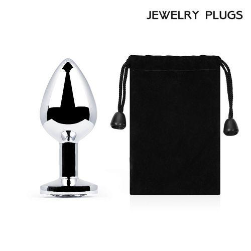Анальная металлическая втулка Anal Jewelry Plug с кристаллом L 82 мм D 34 мм вес 90г