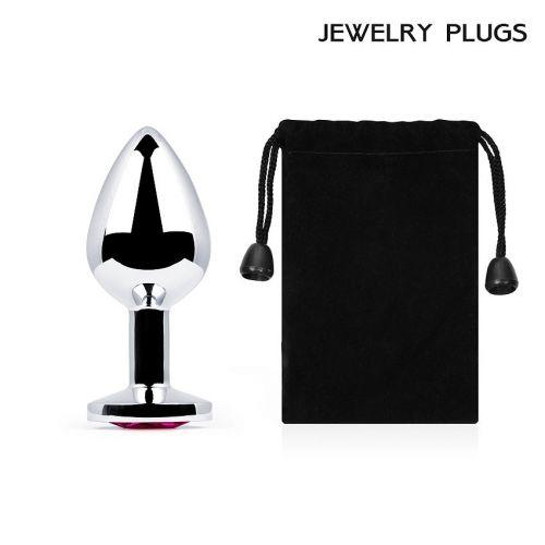 Серебряная анальная пробка из металла Anal Jewelry Plug с рубиновым кристаллом L 82 мм D 34 мм вес 90г
