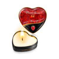 Массажная свеча-сердечко возбуждающая с ароматом клубники Plaisirs Secrets 35 мл