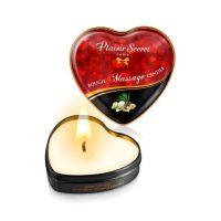 Массажная свеча-сердечко афродизиак с запахом Экзотические фрукты Plaisirs Secrets 35 мл