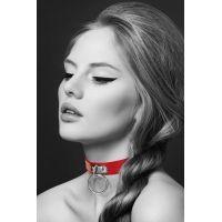 Чокер стильный с металлическим кольцом Bijoux Pour Toi - FETISH Red красный